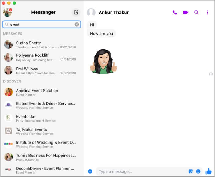 View Facebook chat history in Messenger app on desktop
