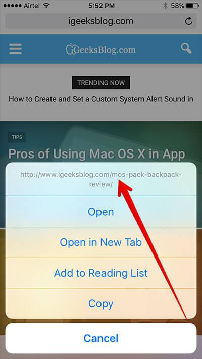 View Full URL in Safari on iPhone and iPad