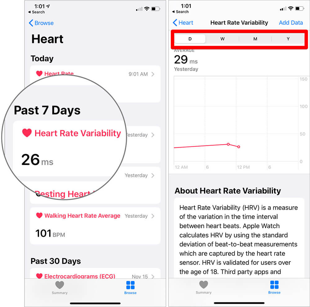 View Heart Rate Variability on iPhone