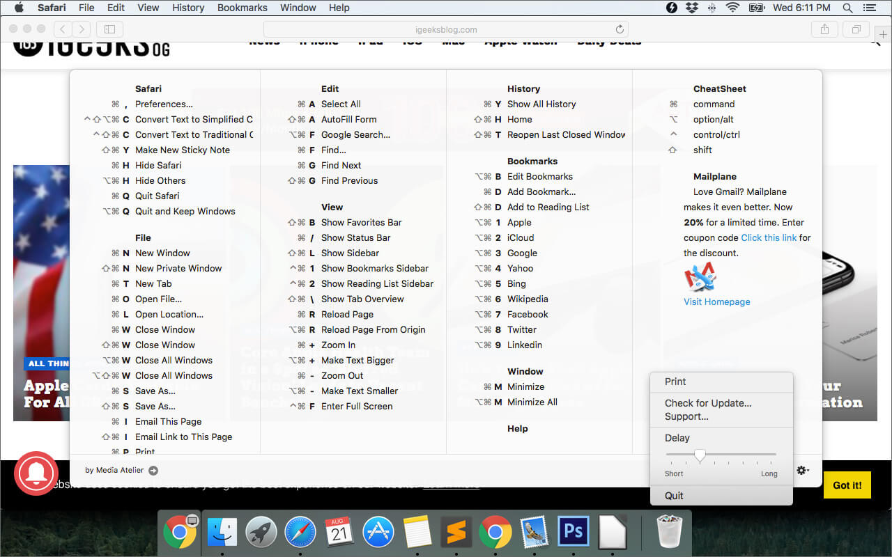View Keyboard Shortcuts for Any Mac App with CheatSheet