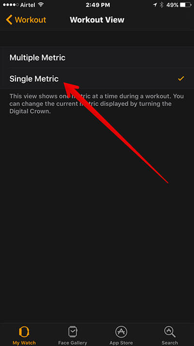 View Single Metric in Workout on Apple Watch