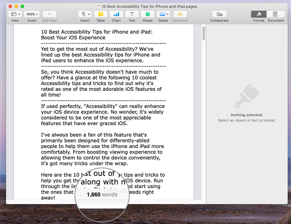 View The Word Count in Pages on Mac