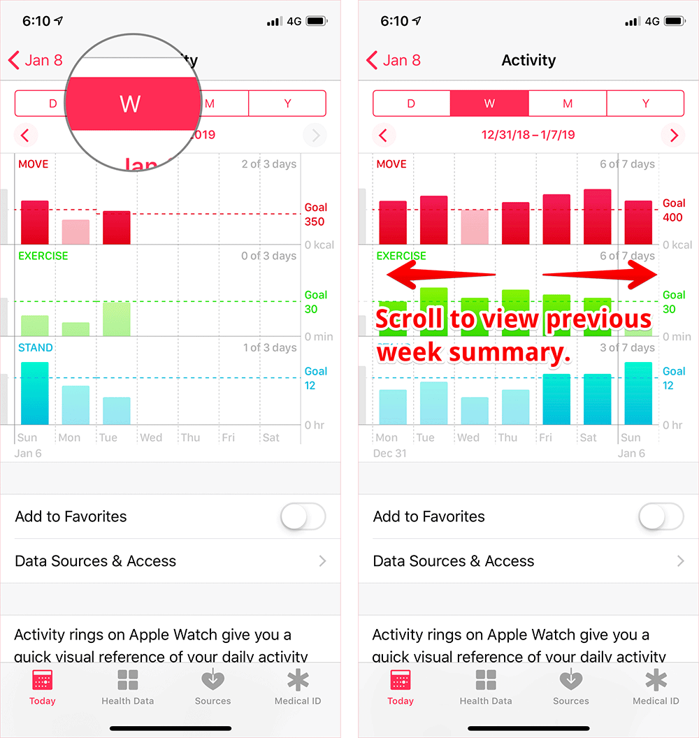 View Weekly Activity Summary on iPhone or iPad