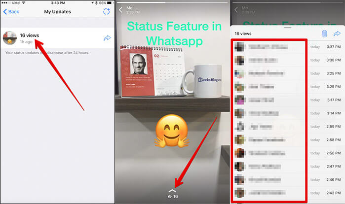 View Who Has Seen WhatsApp Story on iPhone