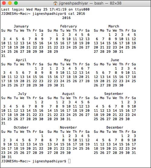 View Whole Year Calendar in Mac Using Terminal Command