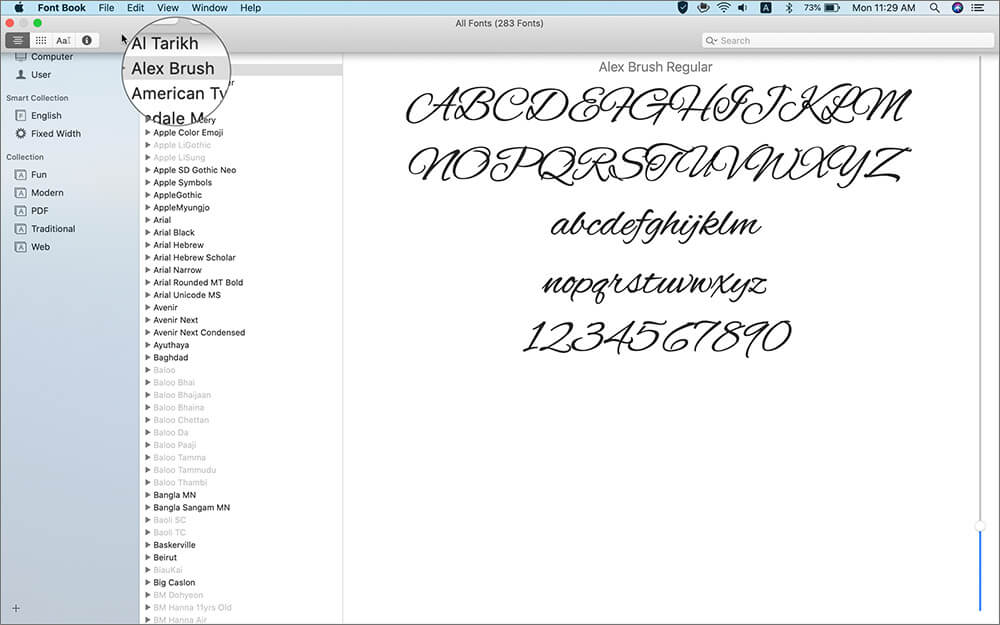 View Your Installed Fonts in Font Book on Mac