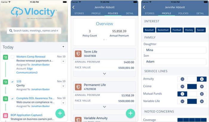 Vlocity iPhone and iPad Salesforce App Screenshot