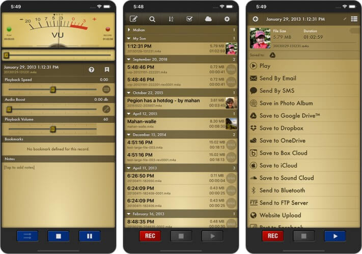 Voice Record Pro iPhone and iPad App Screenshot