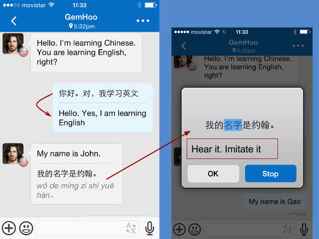 Voice to Text with Comments in HelloTalk iPhone App