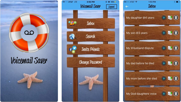 VoicemailSaver iPhone App Screenshot
