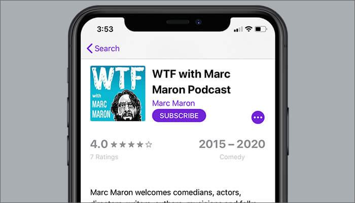 WTF With Marc Maron Podcast to Listen in Podcasts App on iPhone
