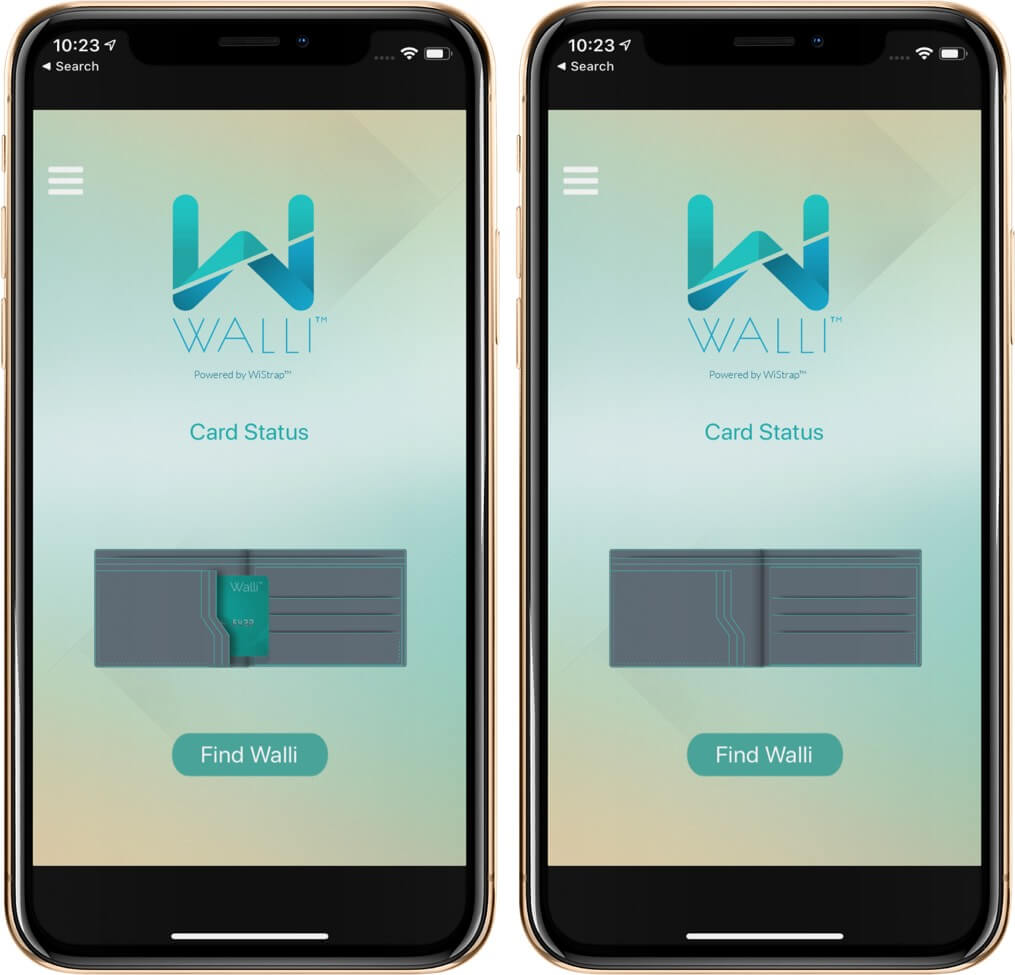 Walli App Shows Card is Inside or Outside of The Smart Wallet