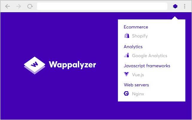 Wappalyzer Google Chrome extension