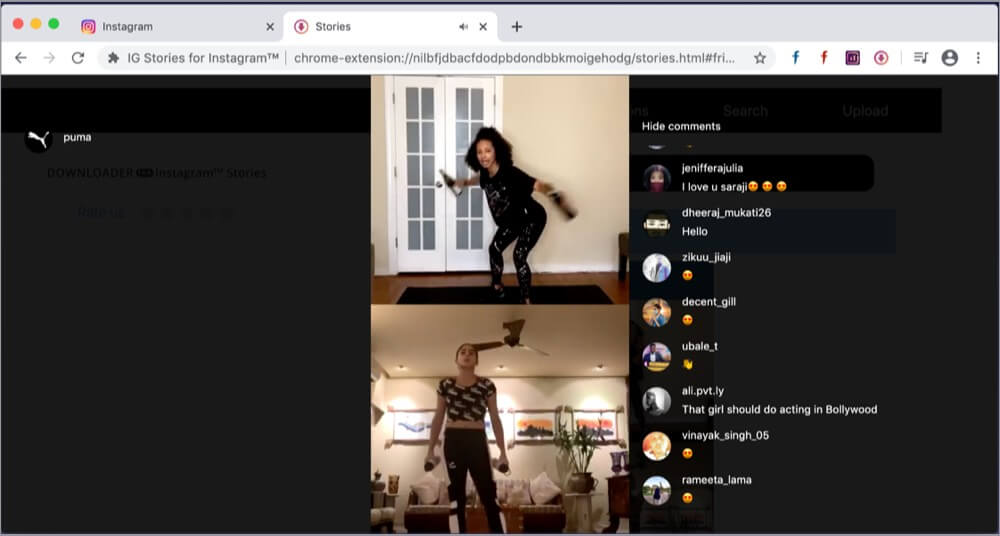 Watch Instagram Live on Mac using Chrome IG Stories extension
