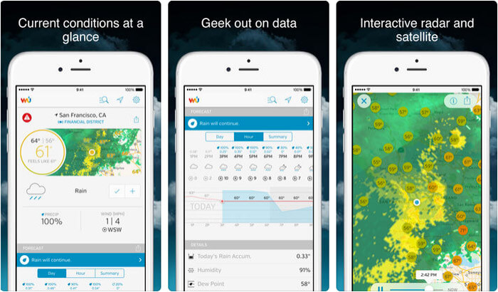 Weather Underground iPhone and iPad App Screenshot