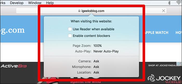 Website Customization Options in macOS High Sierra
