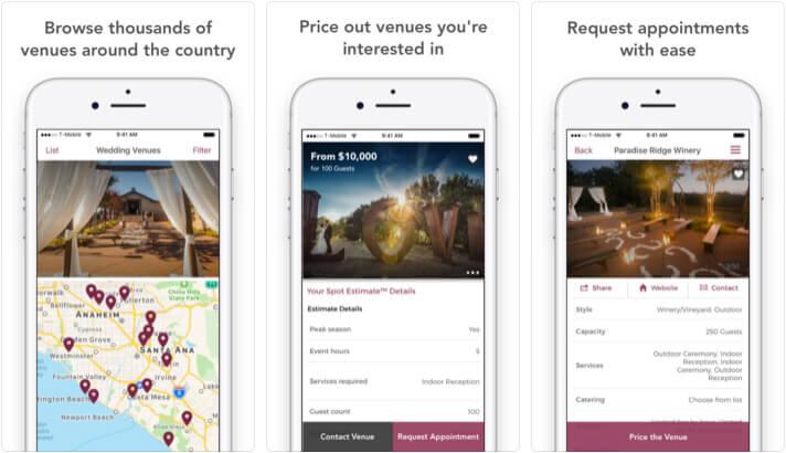 Wedding Spot iPhone and iPad App Screenshot