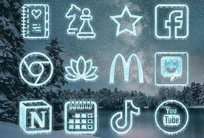 White Christmas 3D Frozen Icon Set for iPhone Screenshot