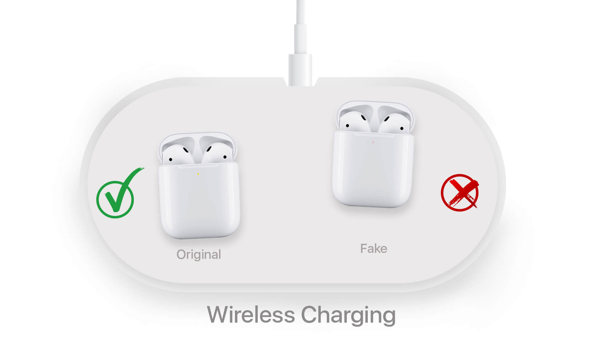 Wireless Charging to Identify Original Apple Wireless Airpods