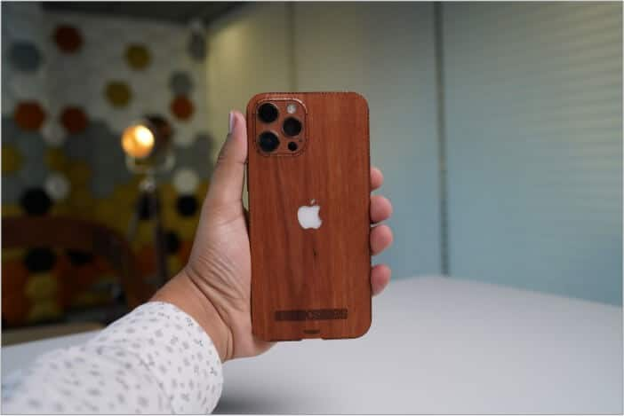 Wood veneer finish in Toast iPhone 12 cover