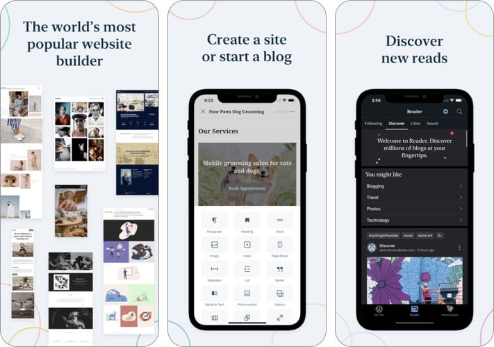 Screenshot der WordPress-Blogging-App