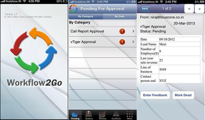 Workflow2Go ERP iPhone App Screenshot