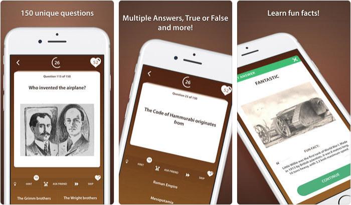 World History Trivia Quiz iPhone and iPad App Screenshot