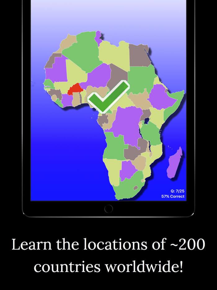 World Map Challenge iOS App Screenshot