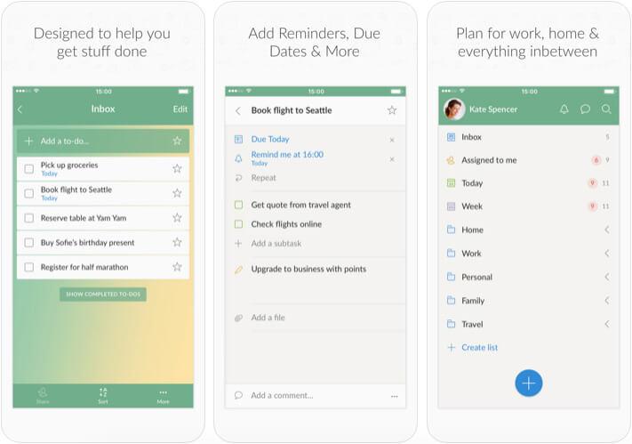 Wunderlist HR Management iOS App Screenshot
