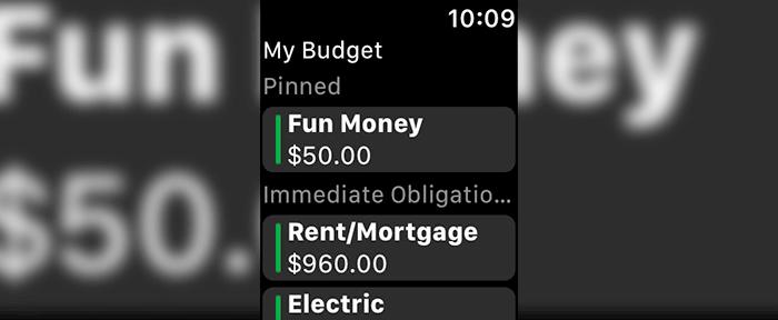 YNAB Apple Watch Finance App Screenshot