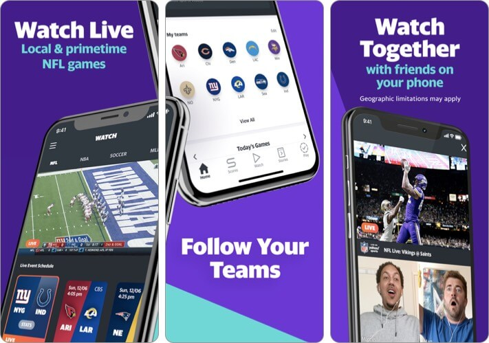 Yahoo Sports Watch NFL games iPhone and iPad App Screenshot