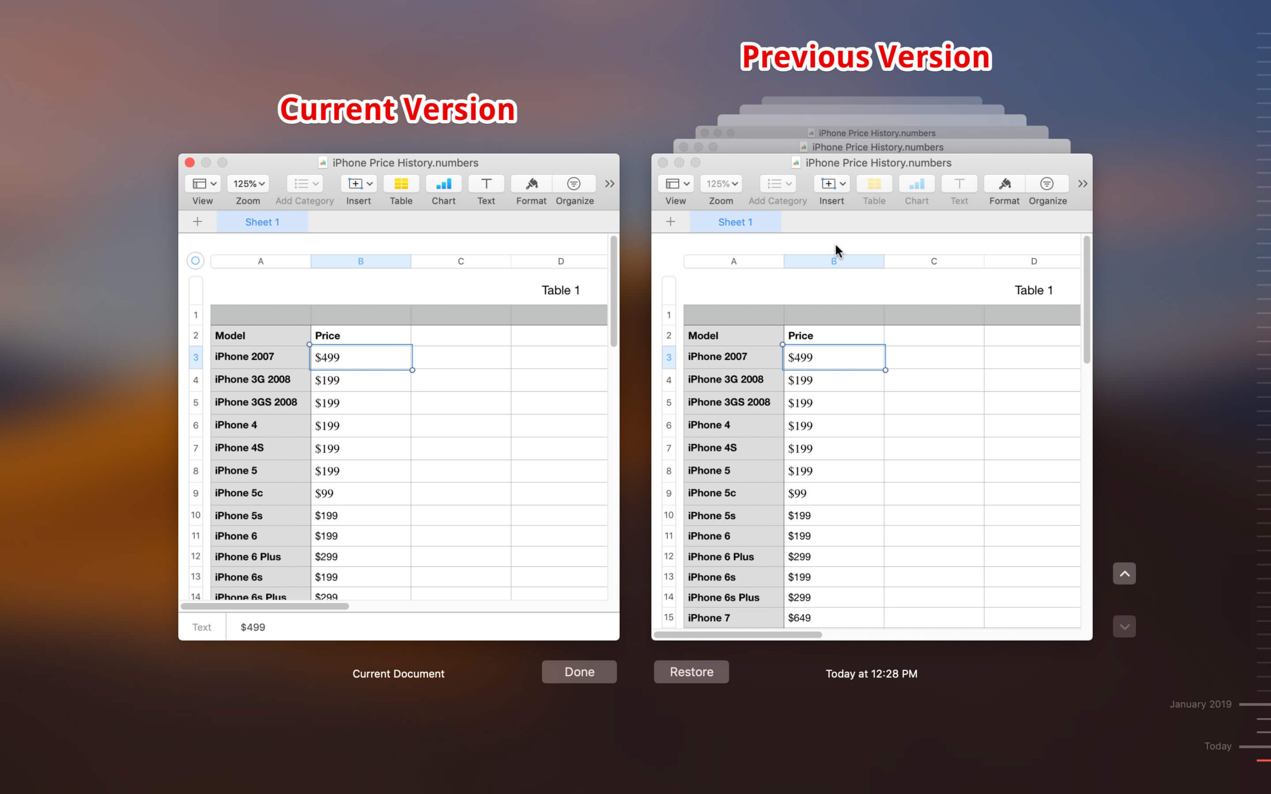 You Can See Current and Previous Version of your Files on Mac