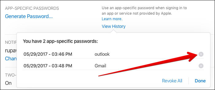 You have to Remove icon X next to the password you wish to revoke