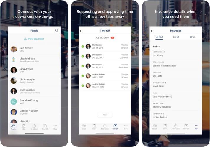 Zenefits HR Management iPhone App Screenshot