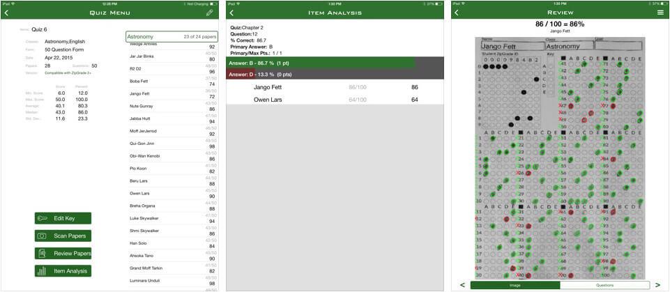 ZipGrade iPhone and iPad Assessments App Screenshot
