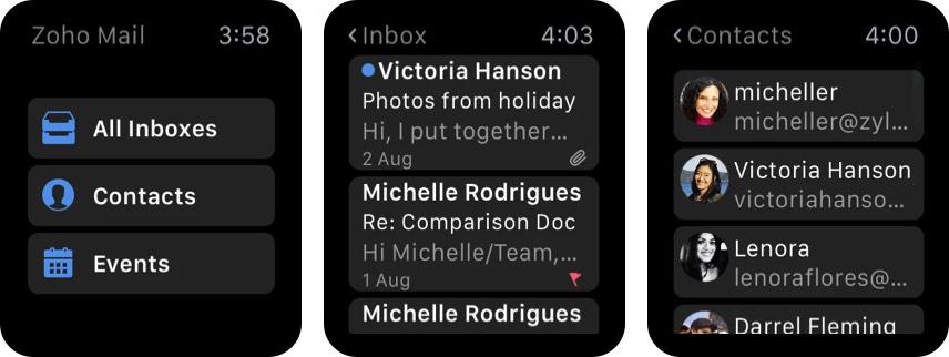 Приложение Zoho Mail для Apple Watch