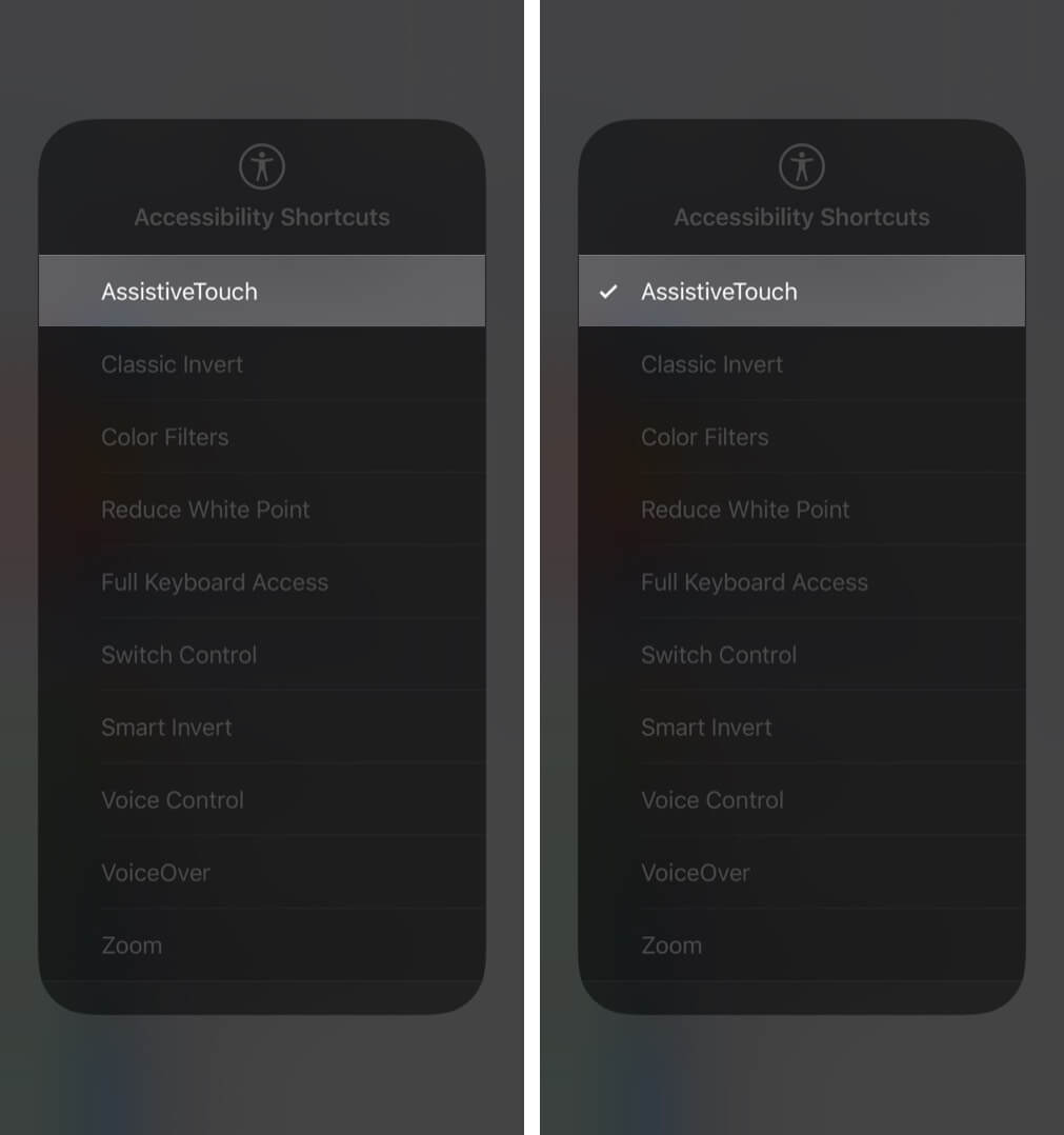 access accessibility shortcuts using control center on iphone