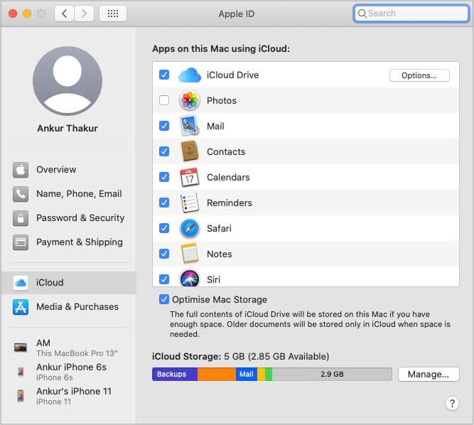 Доступ к iCloud на Mac