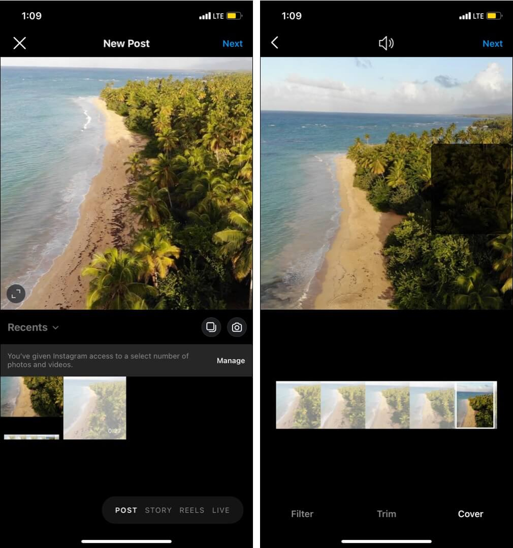 Add Custom Thumbnail using Instagram Cover Feature