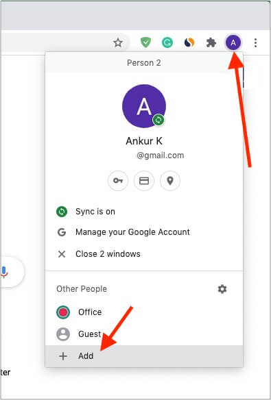 Add different profiles like personal, office, wife, or guest browser