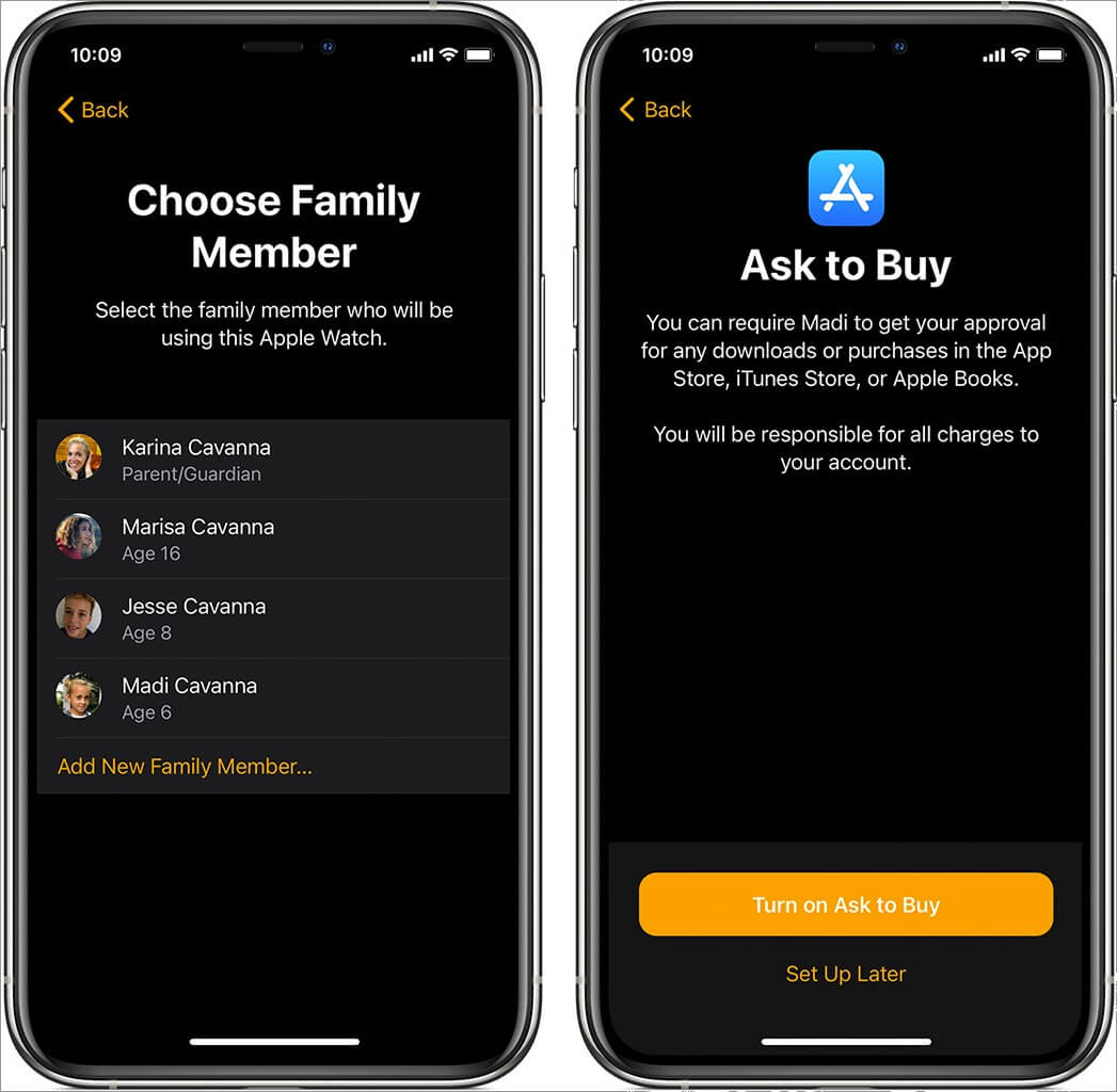 add family member and then tap on turn on ask to buy on iphone