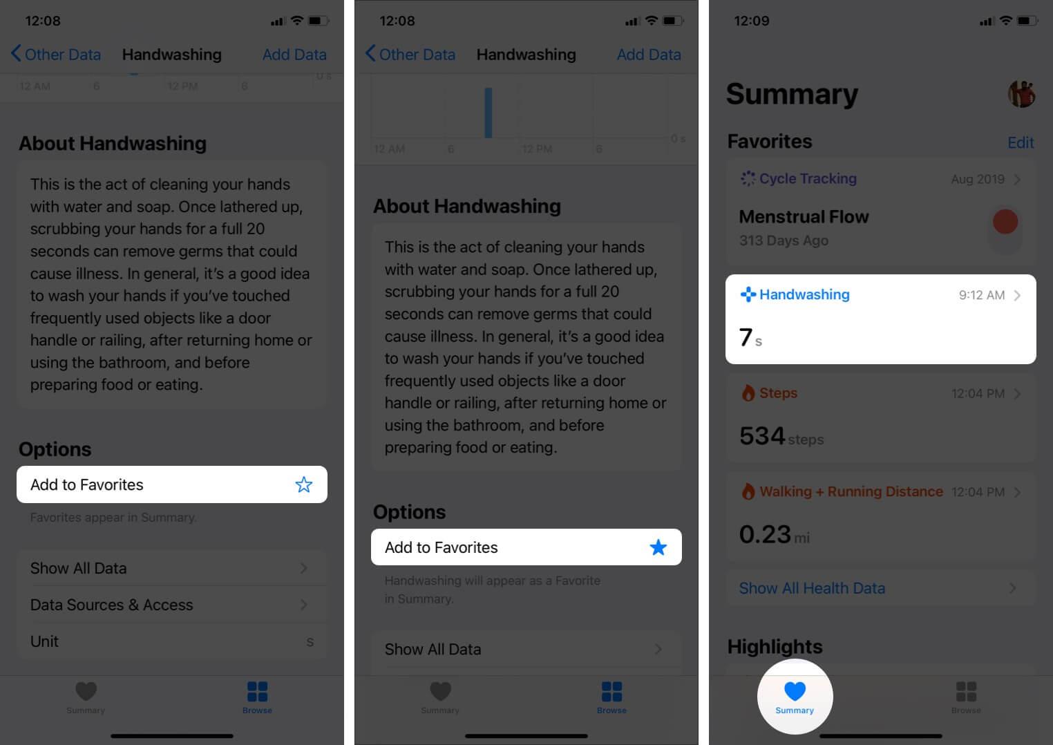 add handwashing to summary in health app on iphone