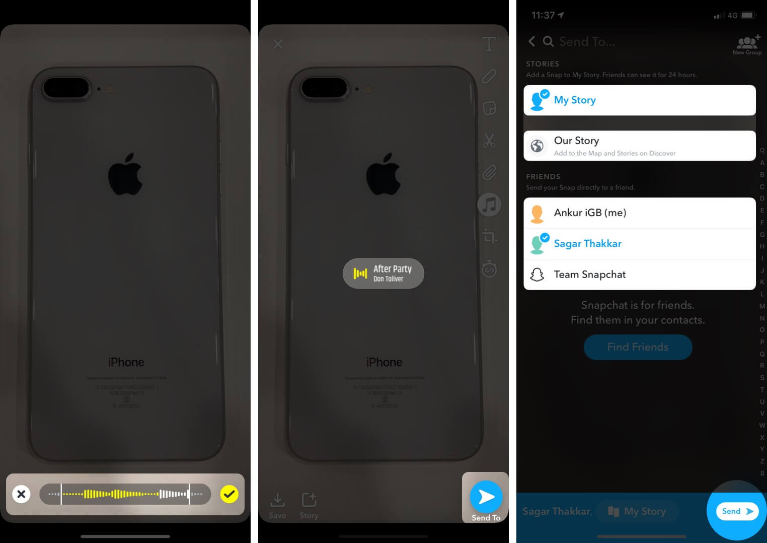 Add Music on Snaps and Stories in Snapchat and Share it from iPhone