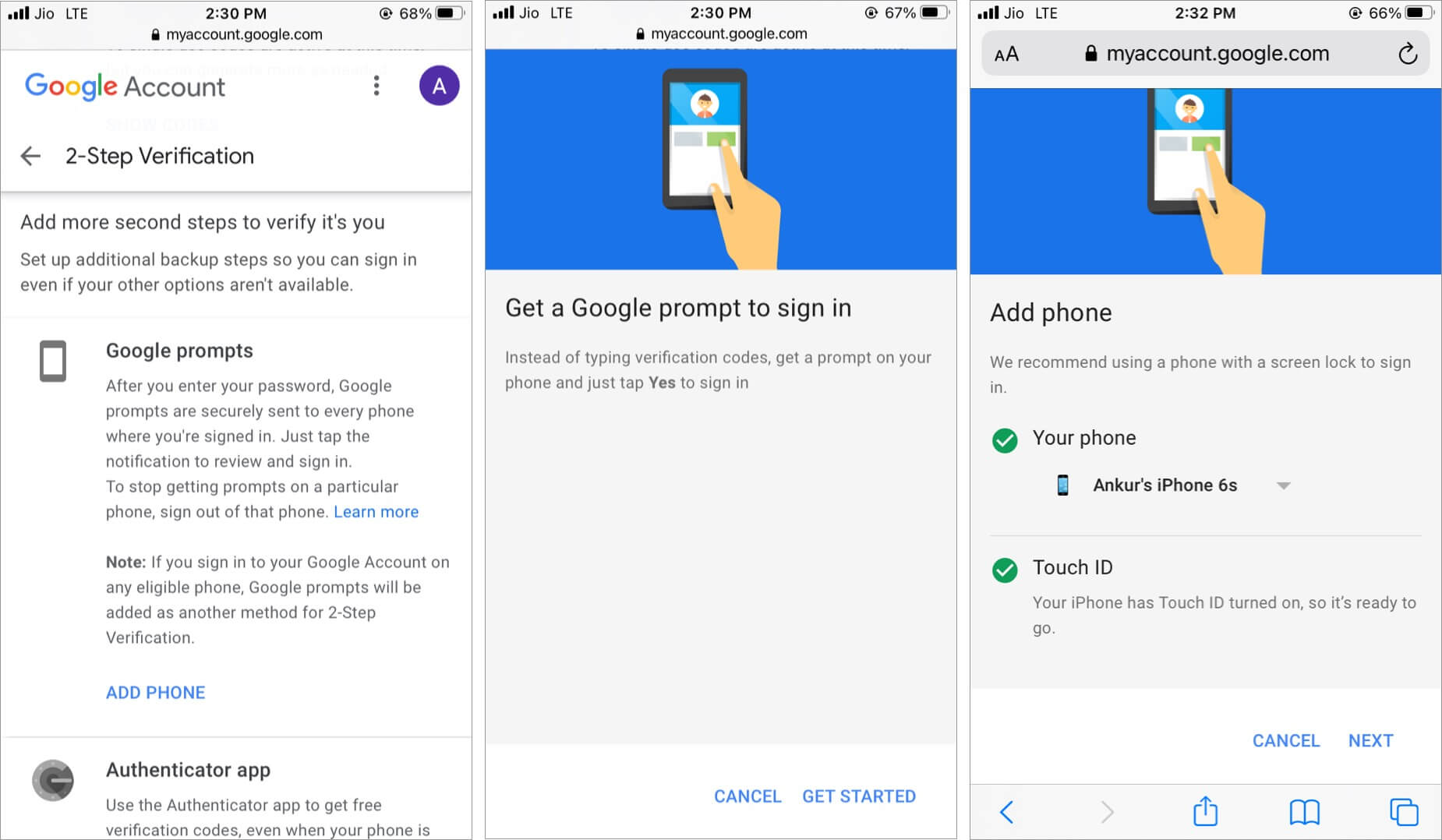 Add Phone to get Google prompts in Gmail or Google app