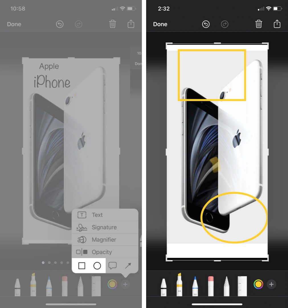 add shapes to screenshot using markup tool on iphone