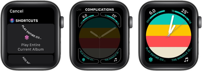 Add shortcut complication to Apple Watch face
