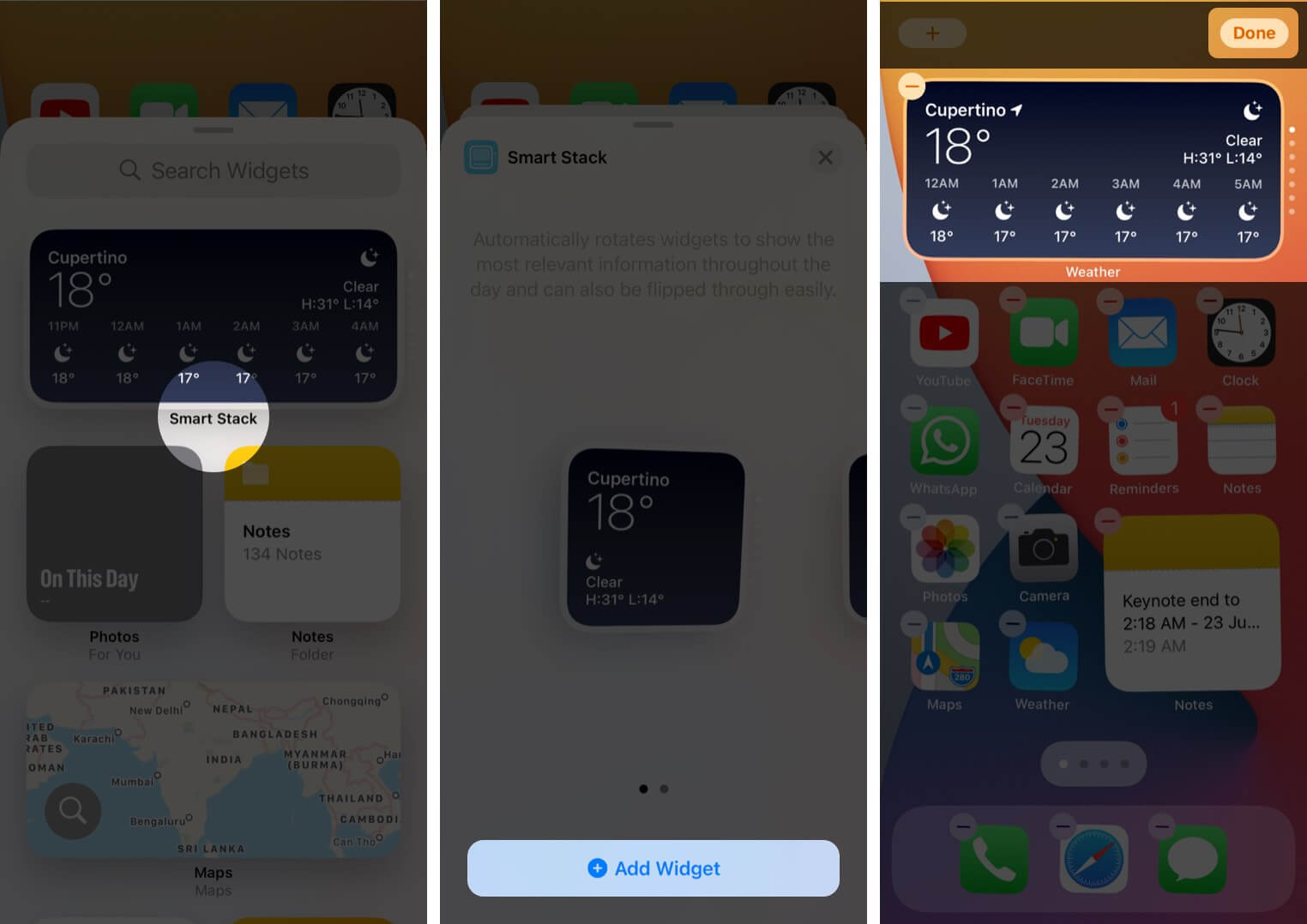 add smart stack widget to iphone home screen