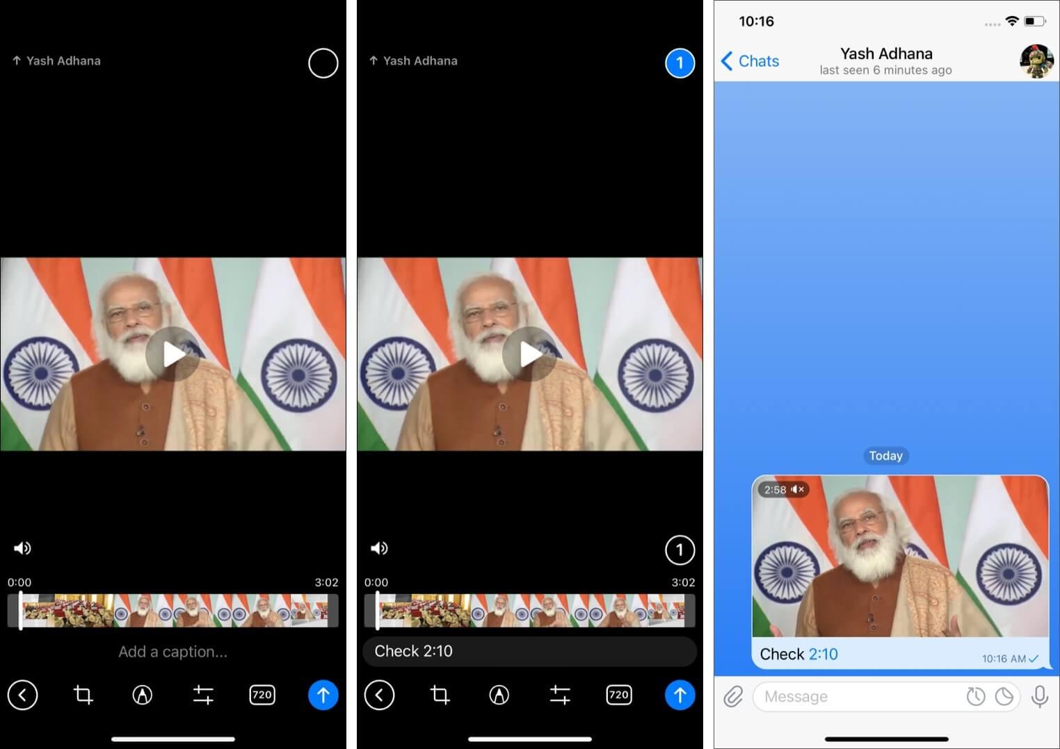 Add timestamps to videos on Telegram