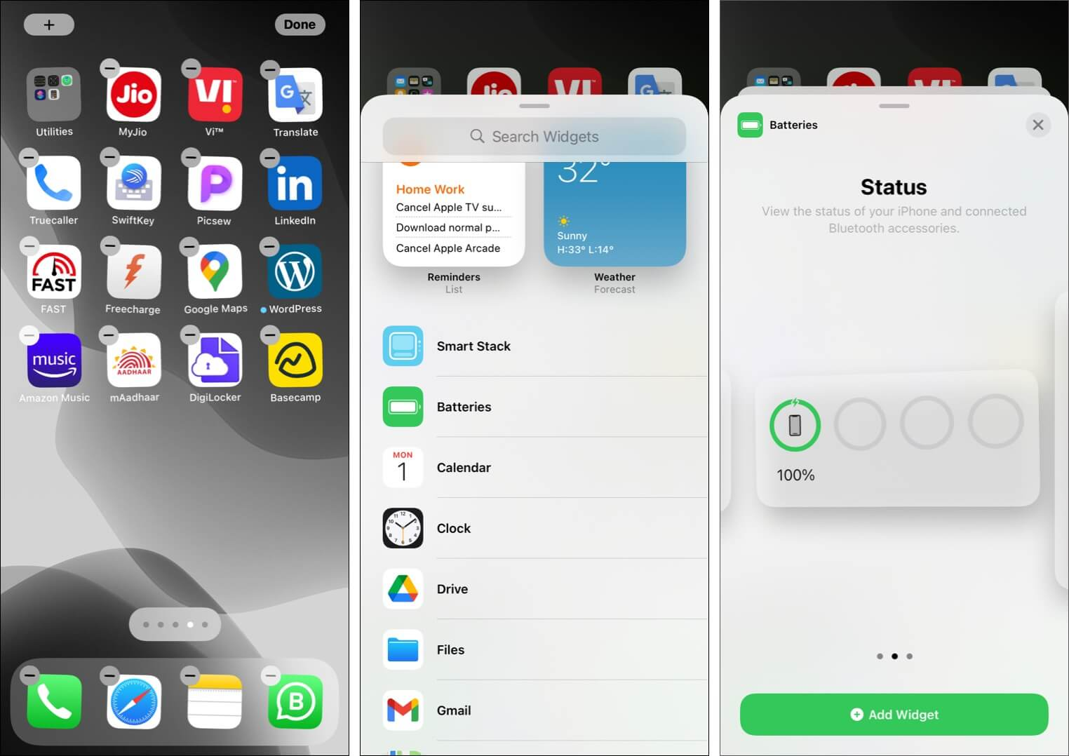 Add widgets to iPhone Home Screen