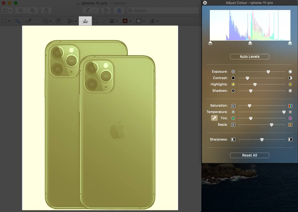 adjust color level on image in mac preview app